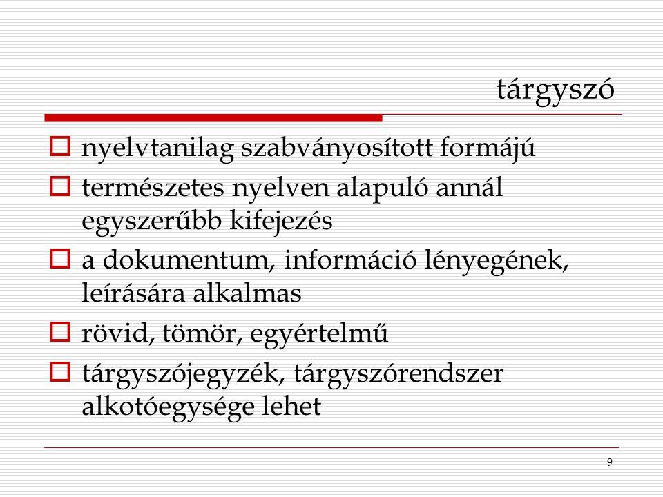 tárgyszó nyelvtanilag szabványosított formájú