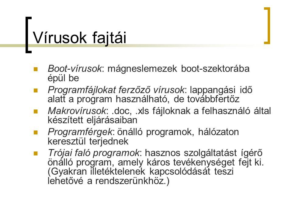 Vírusok fajtái Boot-vírusok: mágneslemezek boot-szektorába épül be