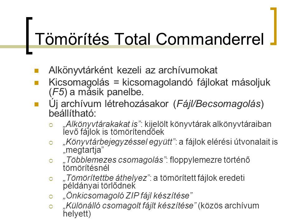 Tömörítés Total Commanderrel