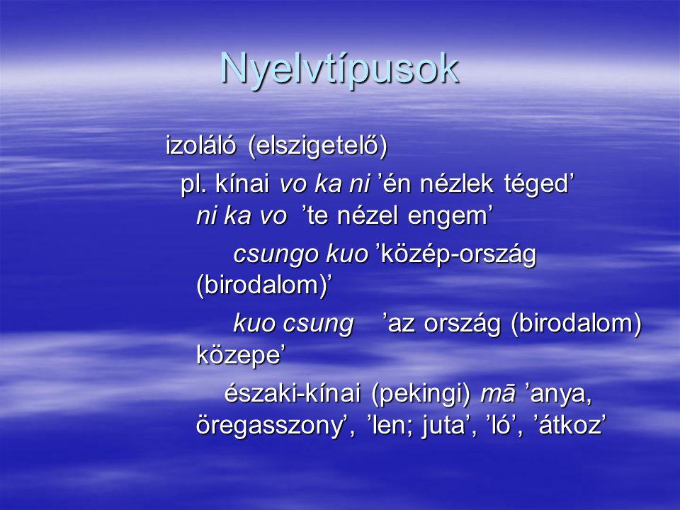 Nyelvtípusok izoláló (elszigetelő)