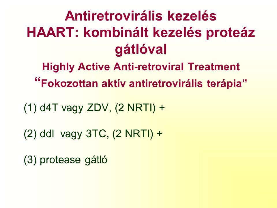 Antiretrovirális kezelés HAART: kombinált kezelés proteáz gátlóval Highly Active Anti-retroviral Treatment Fokozottan aktív antiretrovirális terápia
