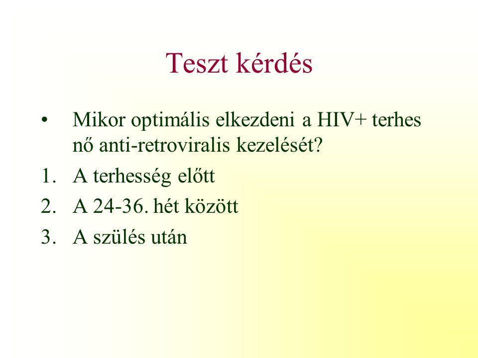Teszt kérdés Mikor optimális elkezdeni a HIV+ terhes nő anti-retroviralis kezelését A terhesség előtt.