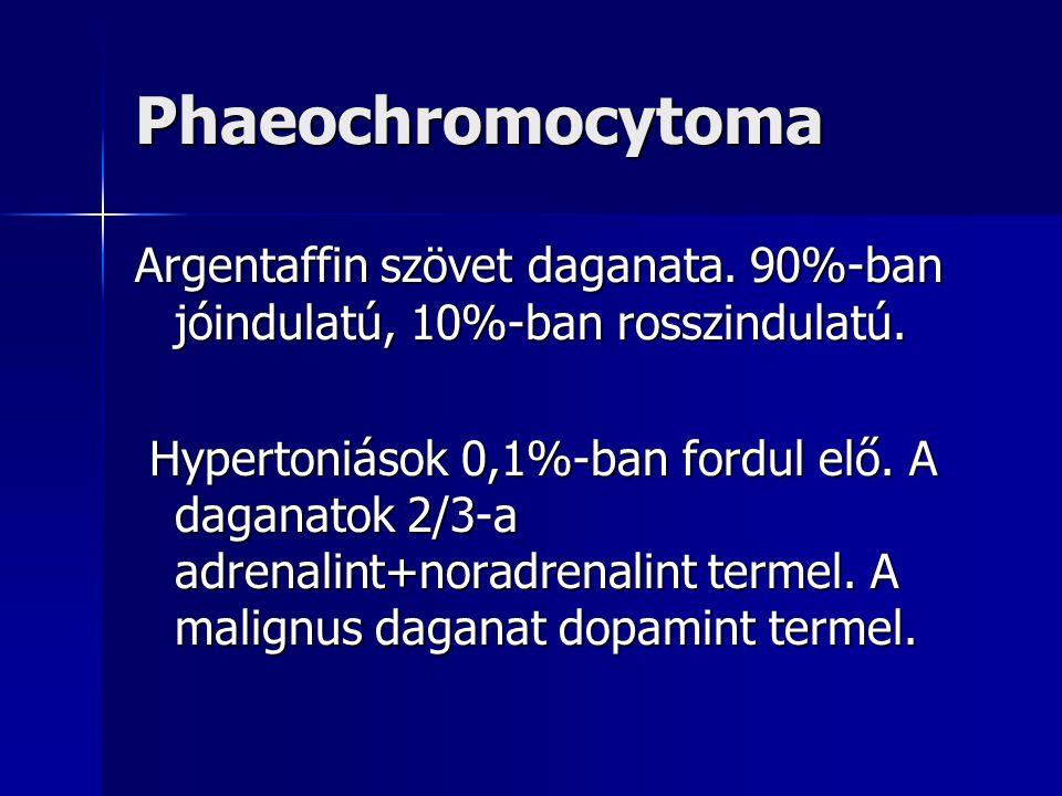 Phaeochromocytoma Argentaffin szövet daganata. 90%-ban jóindulatú, 10%-ban rosszindulatú.