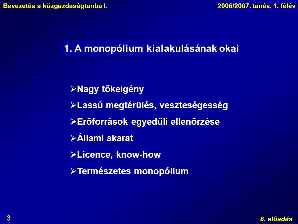 1. A monopólium kialakulásának okai
