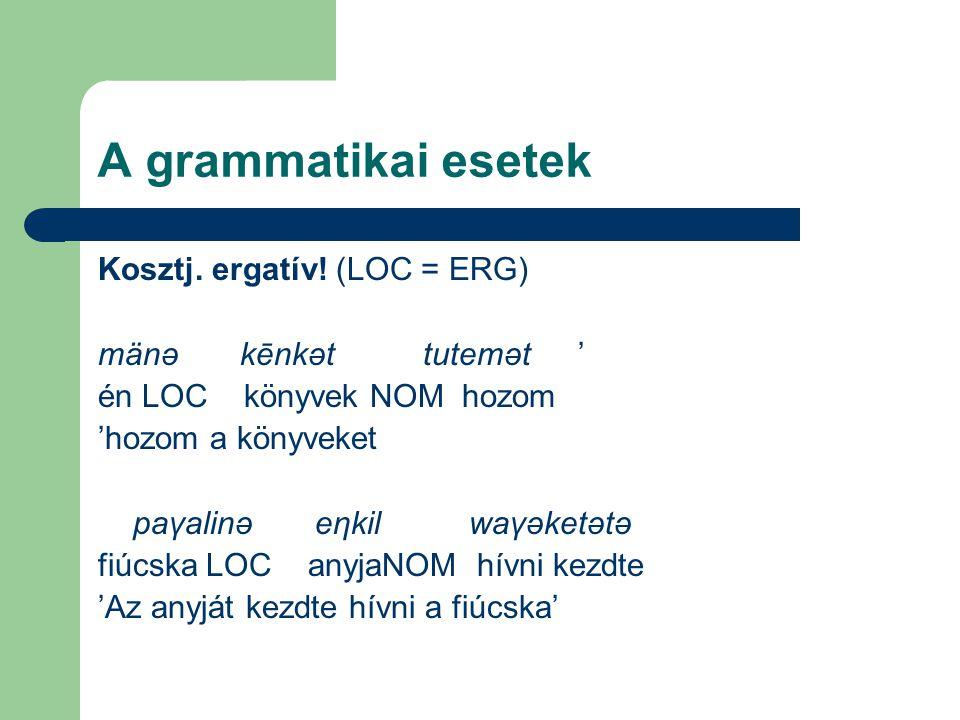 A grammatikai esetek Kosztj. ergatív! (LOC = ERG)
