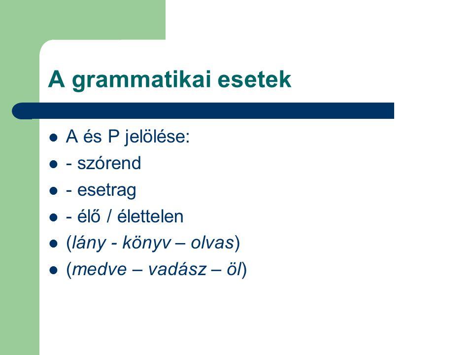 A grammatikai esetek A és P jelölése: - szórend - esetrag