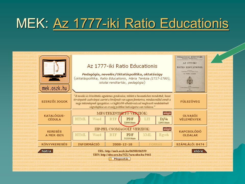 MEK: Az 1777-iki Ratio Educationis