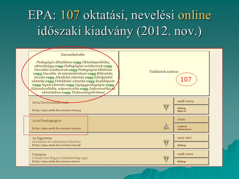 EPA: 107 oktatási, nevelési online időszaki kiadvány (2012. nov.)