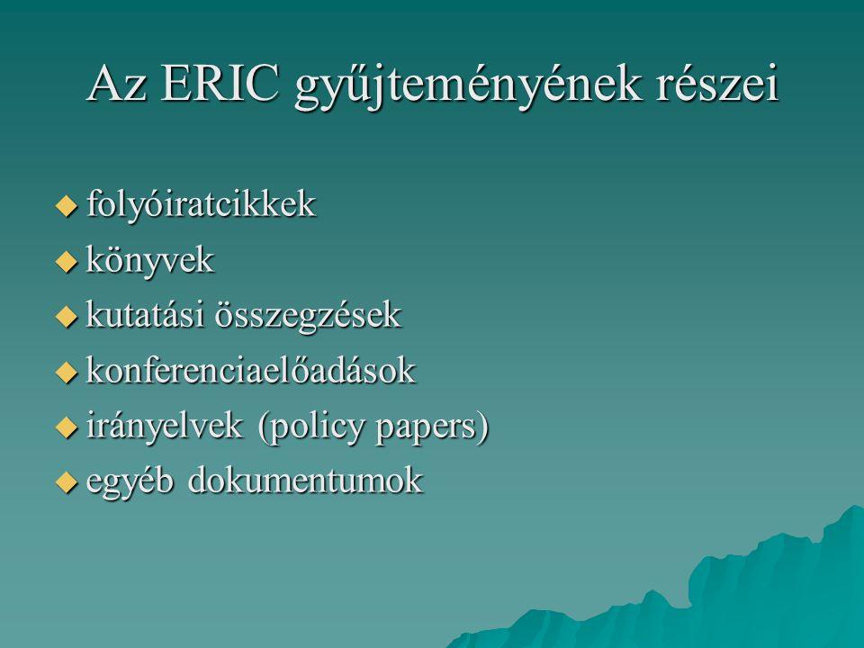 Az ERIC gyűjteményének részei