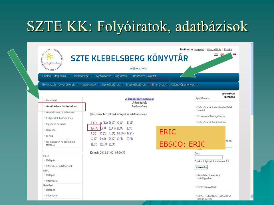 SZTE KK: Folyóiratok, adatbázisok