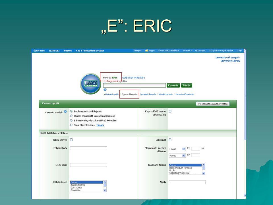 """""""E : ERIC"""