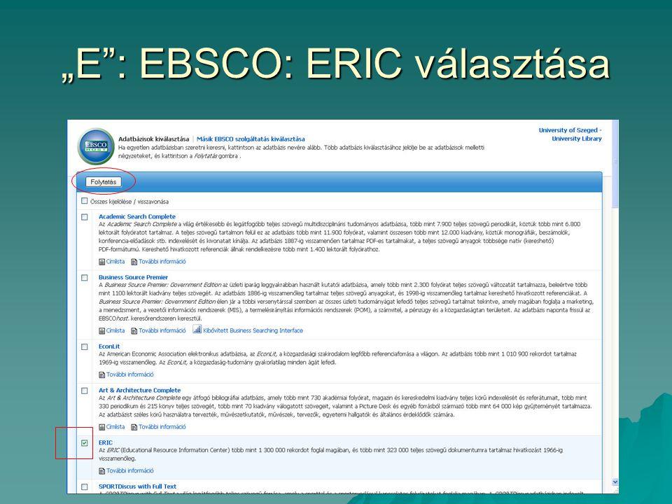 """""""E : EBSCO: ERIC választása"""