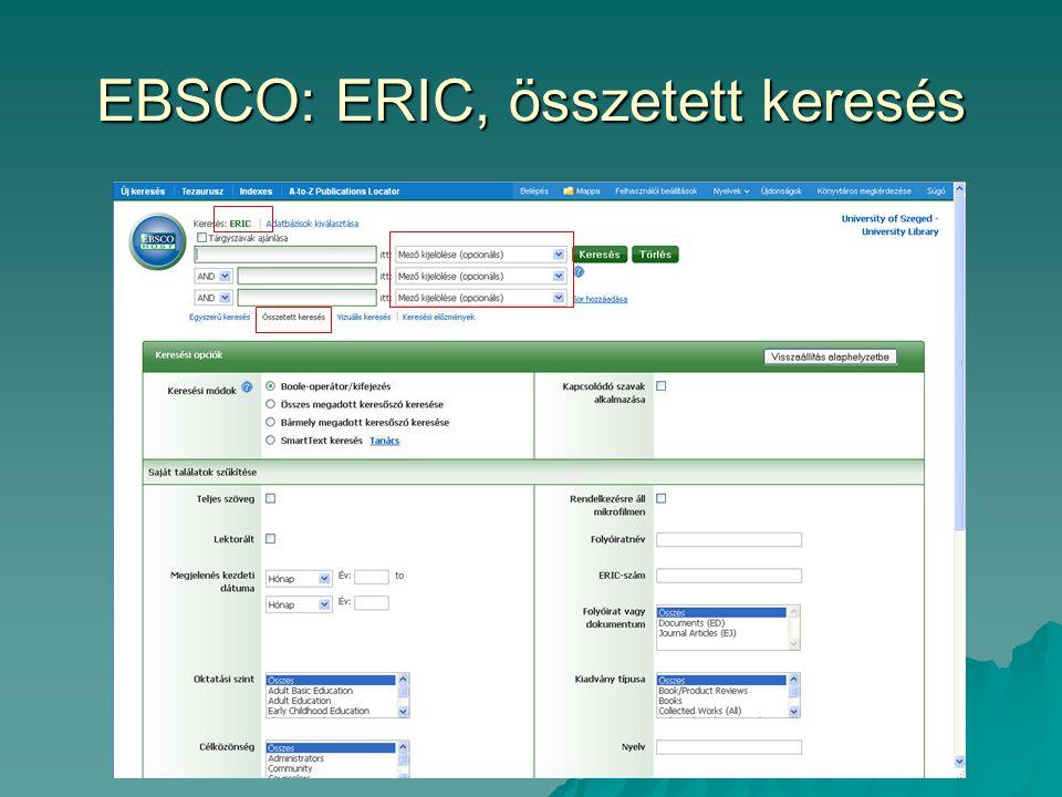 EBSCO: ERIC, összetett keresés