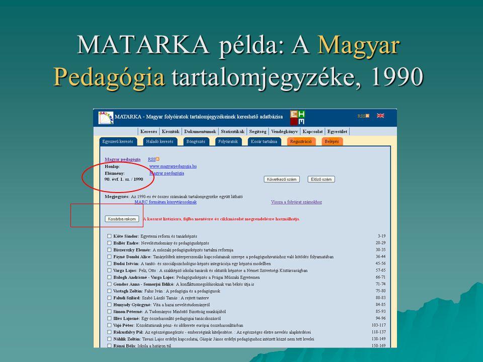 MATARKA példa: A Magyar Pedagógia tartalomjegyzéke, 1990