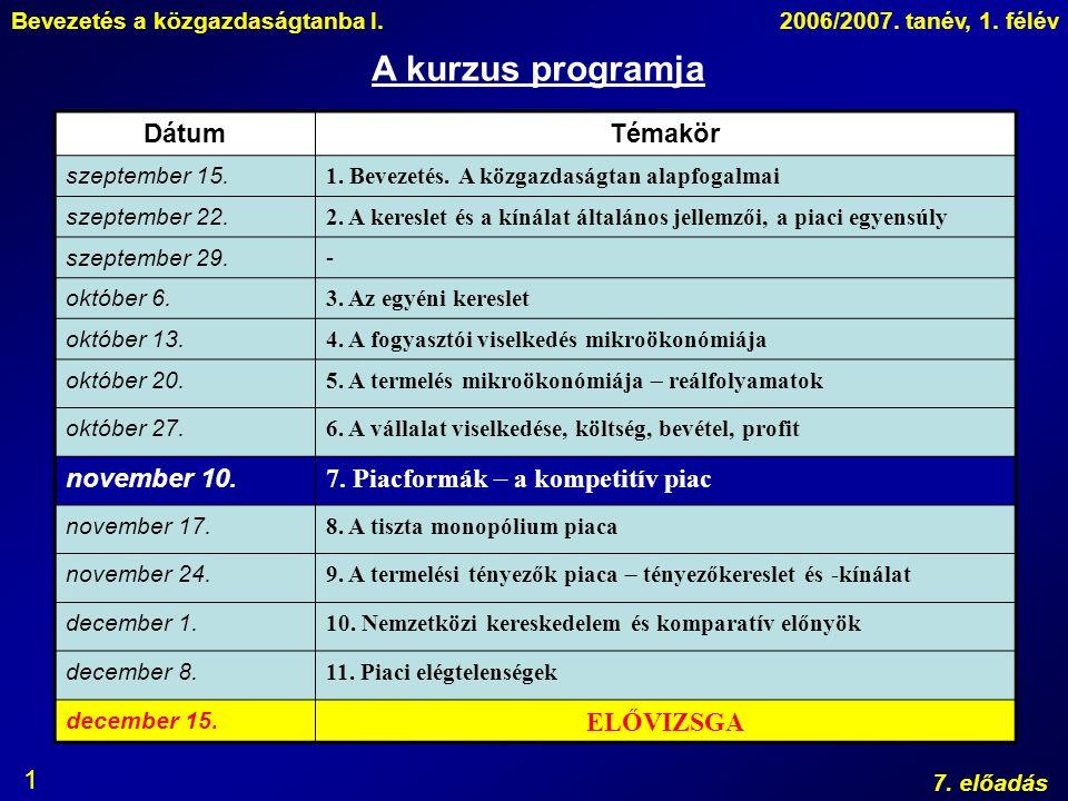 A kurzus programja Dátum Témakör november 10.