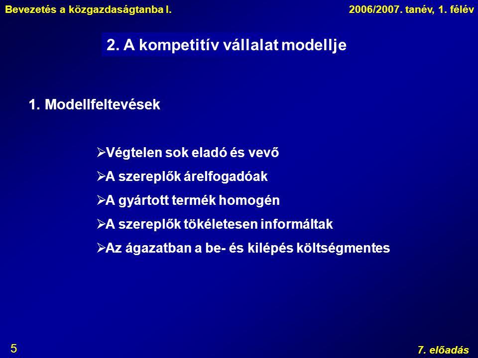 2. A kompetitív vállalat modellje