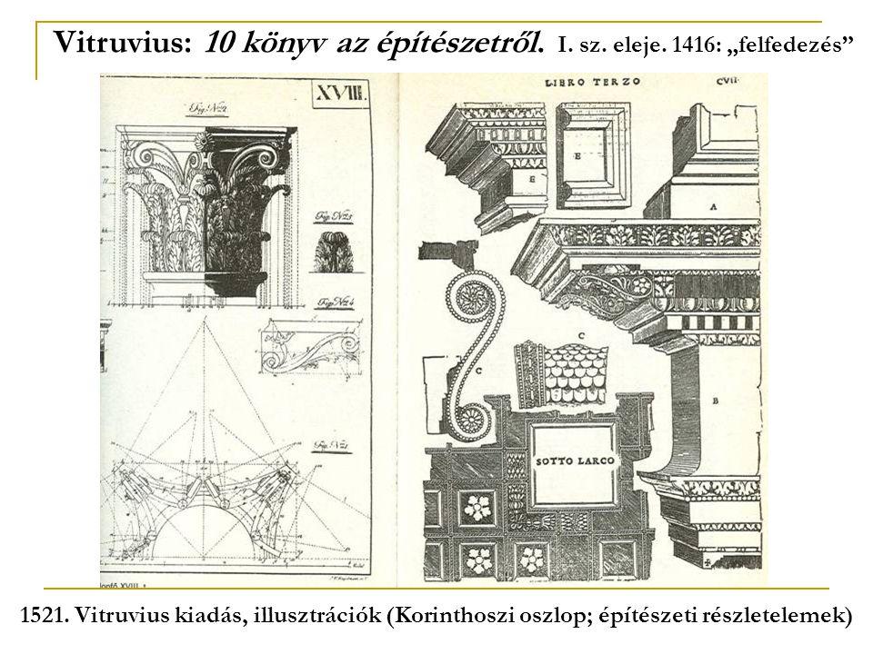 """Vitruvius: 10 könyv az építészetről. I. sz. eleje. 1416: """"felfedezés"""