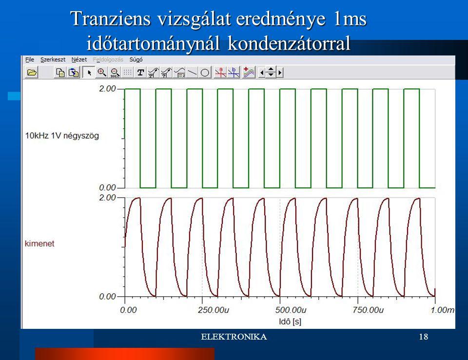 Tranziens vizsgálat eredménye 1ms időtartománynál kondenzátorral
