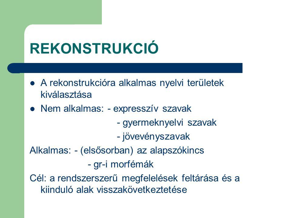 REKONSTRUKCIÓ A rekonstrukcióra alkalmas nyelvi területek kiválasztása