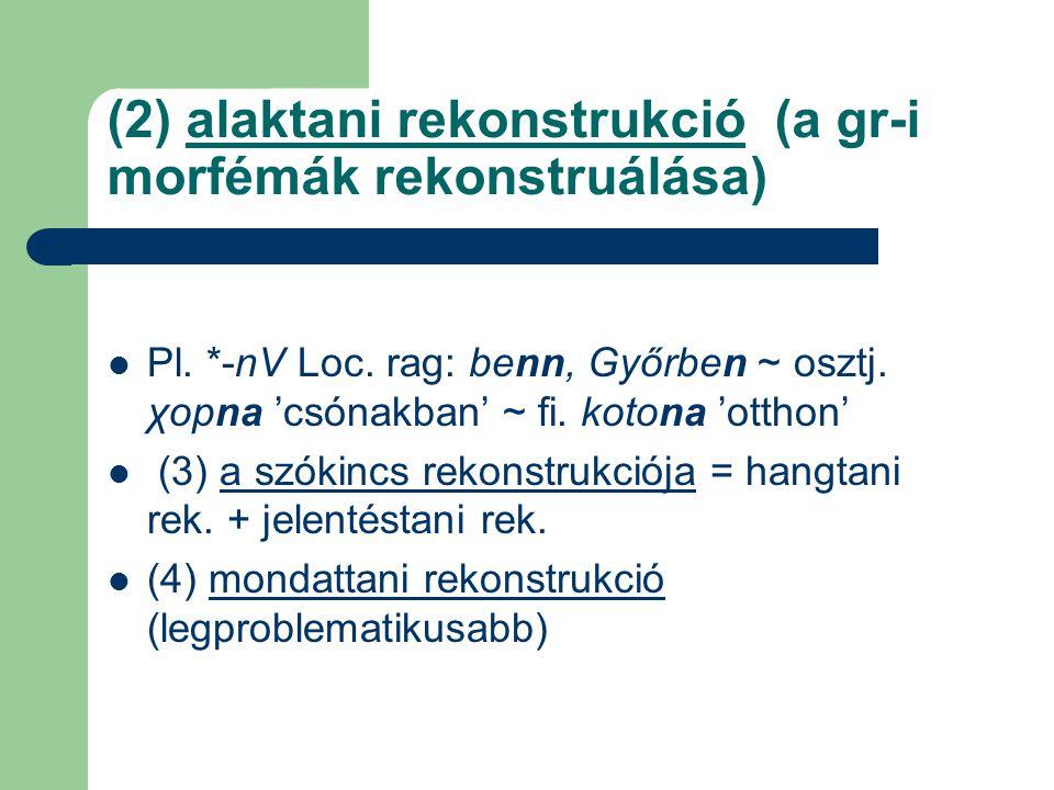 (2) alaktani rekonstrukció (a gr-i morfémák rekonstruálása)