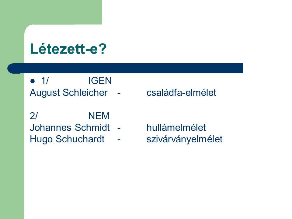 Létezett-e 1/ IGEN August Schleicher - családfa-elmélet 2/ NEM