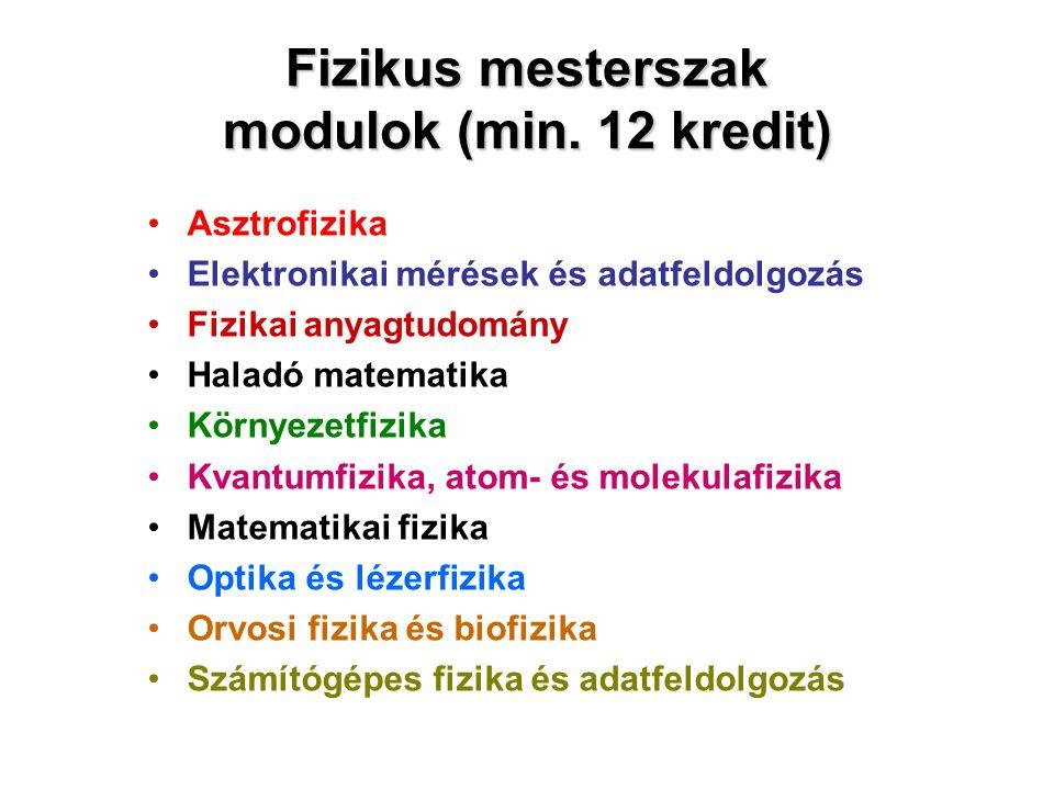 Fizikus mesterszak modulok (min. 12 kredit)