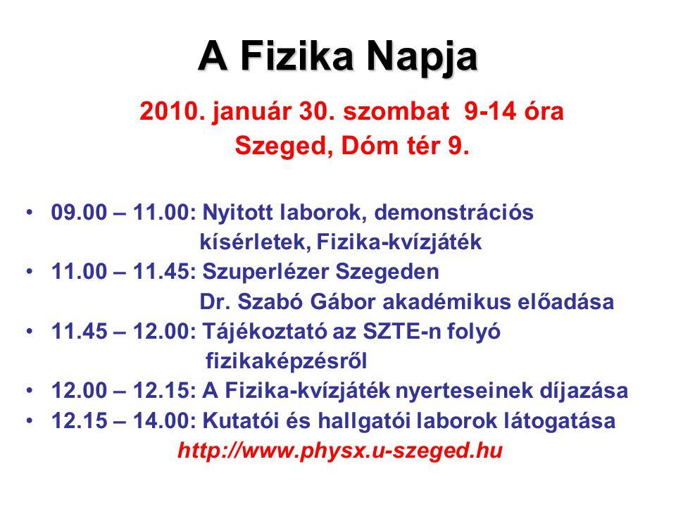 A Fizika Napja Szeged, Dóm tér 9. 2010. január 30. szombat 9-14 óra