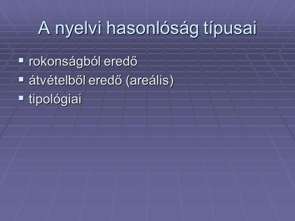 A nyelvi hasonlóság típusai