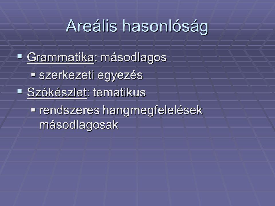 Areális hasonlóság Grammatika: másodlagos szerkezeti egyezés