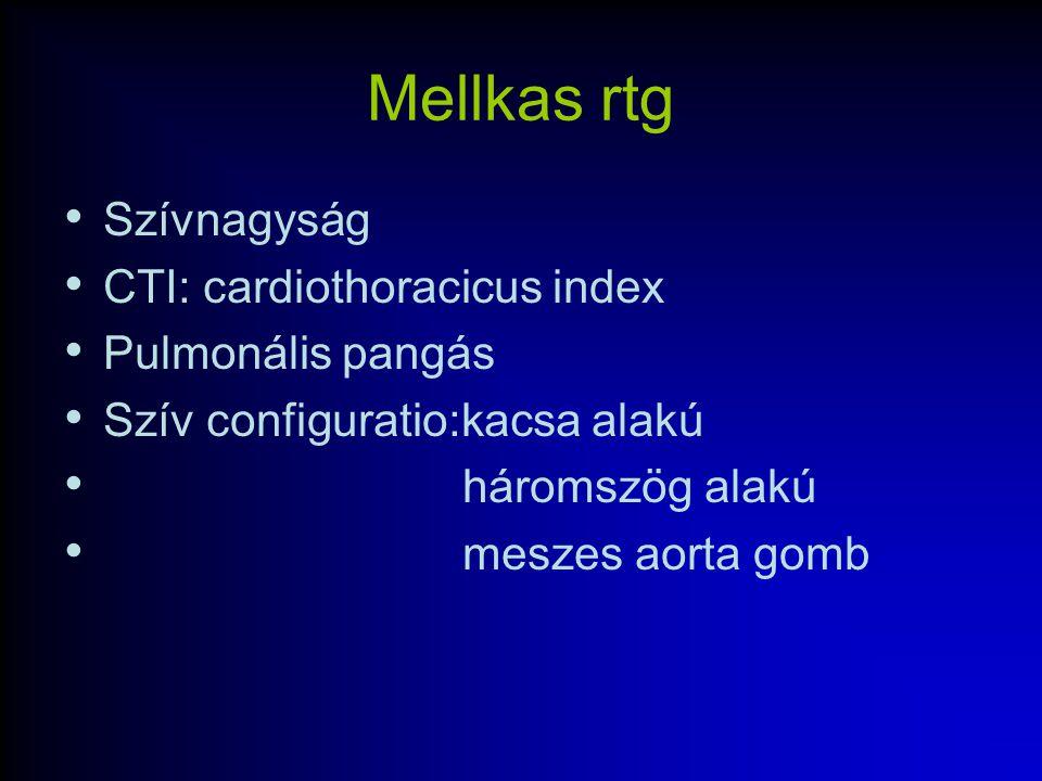 Mellkas rtg Szívnagyság CTI: cardiothoracicus index Pulmonális pangás