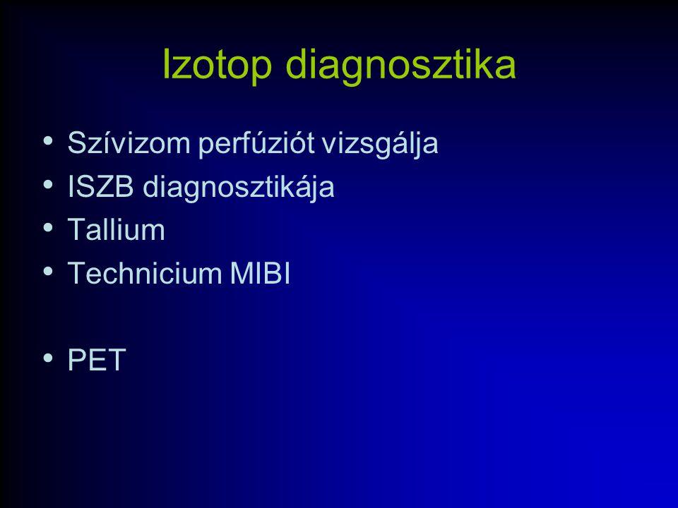 Izotop diagnosztika Szívizom perfúziót vizsgálja ISZB diagnosztikája