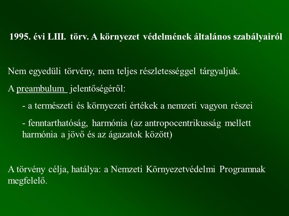 1995. évi LIII. törv. A környezet védelmének általános szabályairól