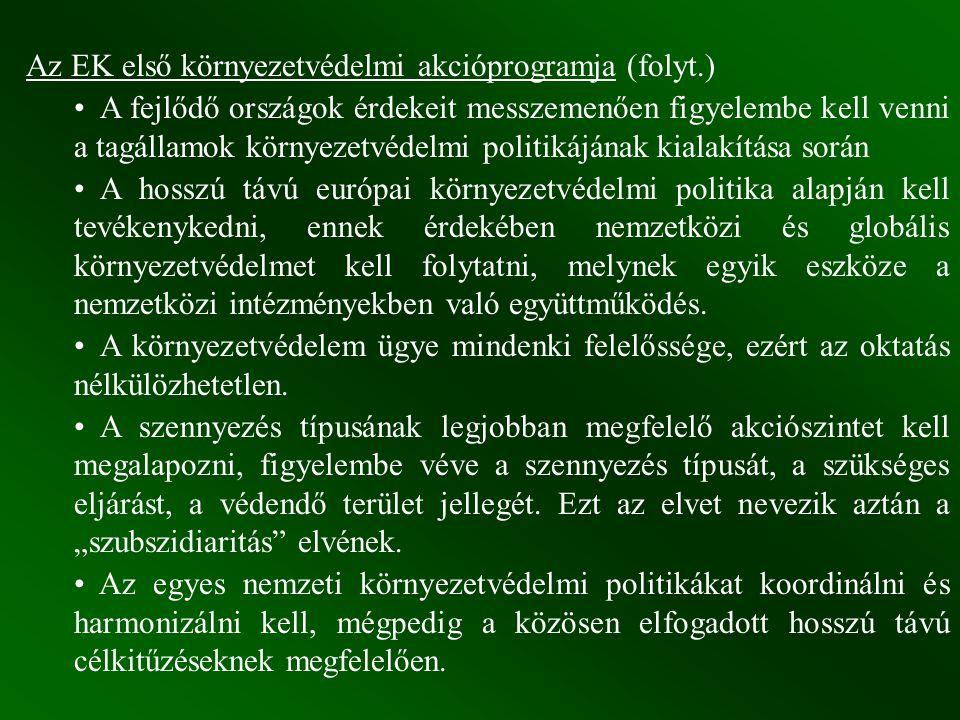Az EK első környezetvédelmi akcióprogramja (folyt.)