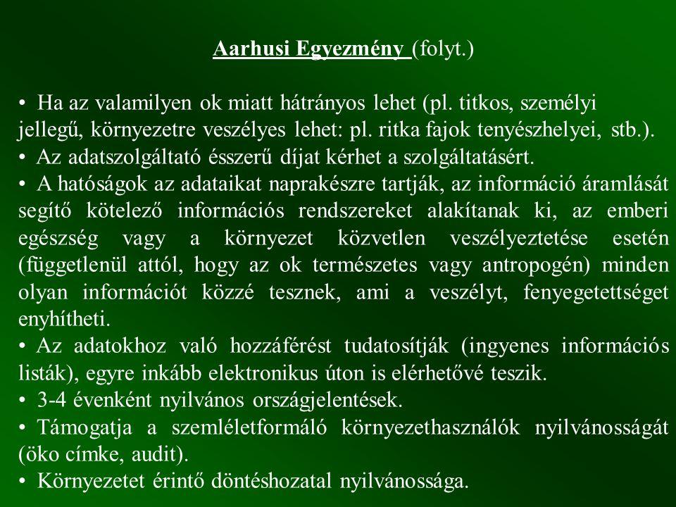 Aarhusi Egyezmény (folyt.)