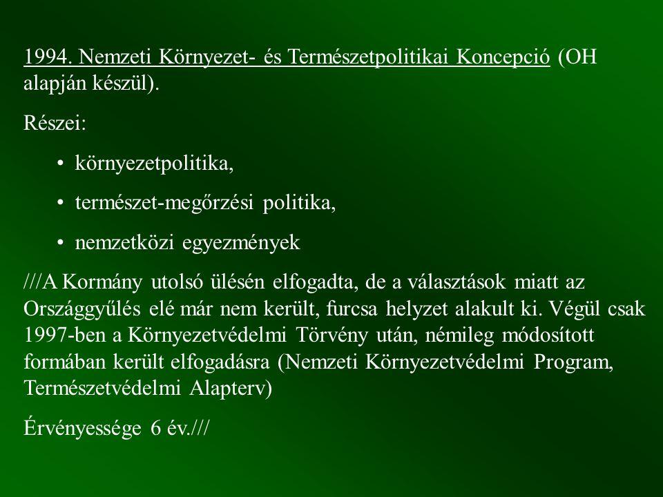1994. Nemzeti Környezet- és Természetpolitikai Koncepció (OH alapján készül).