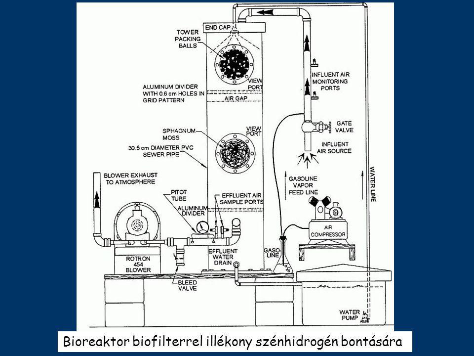 Bioreaktor biofilterrel illékony szénhidrogén bontására