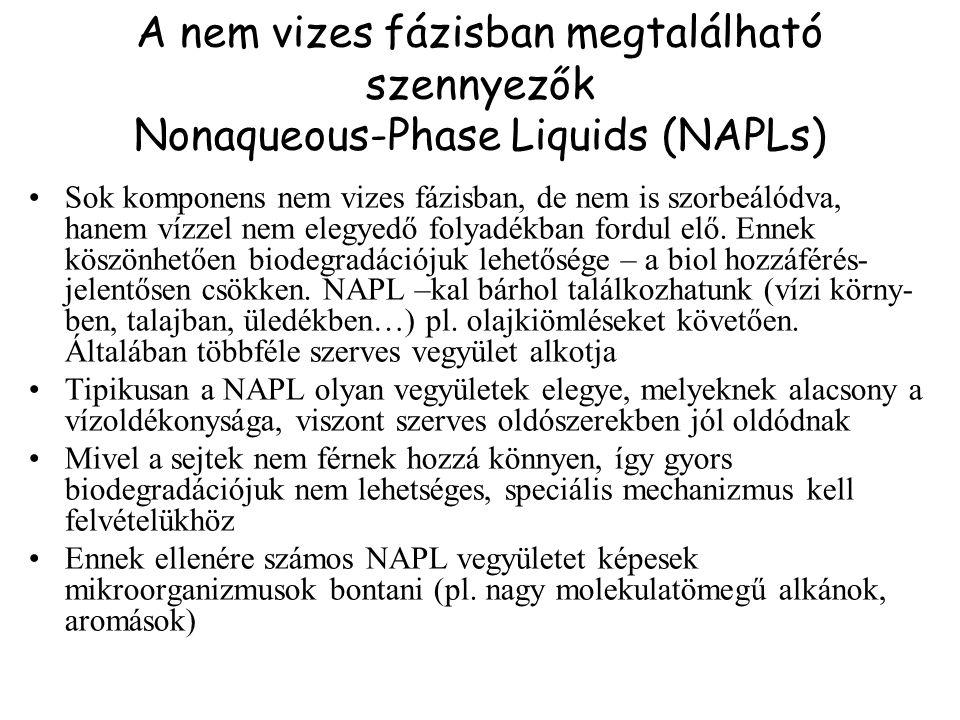 A nem vizes fázisban megtalálható szennyezők Nonaqueous-Phase Liquids (NAPLs)