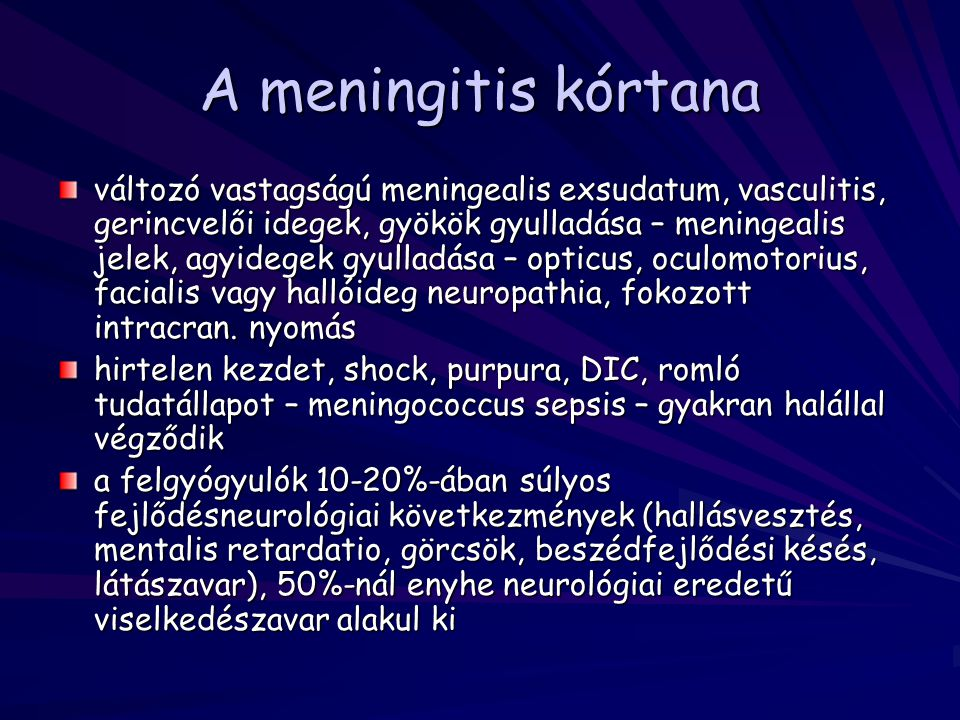 A meningitis kórtana
