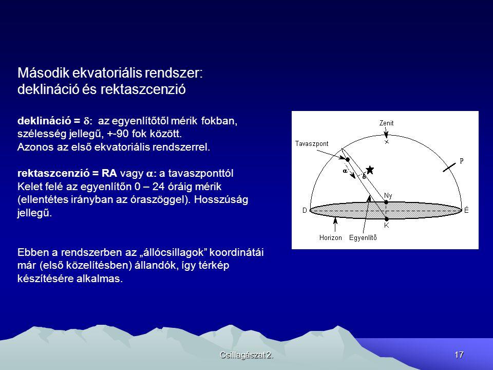 Második ekvatoriális rendszer: deklináció és rektaszcenzió