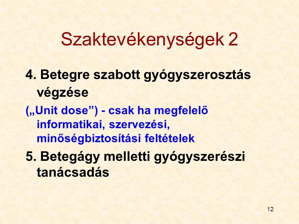 Szaktevékenységek 2 4. Betegre szabott gyógyszerosztás végzése