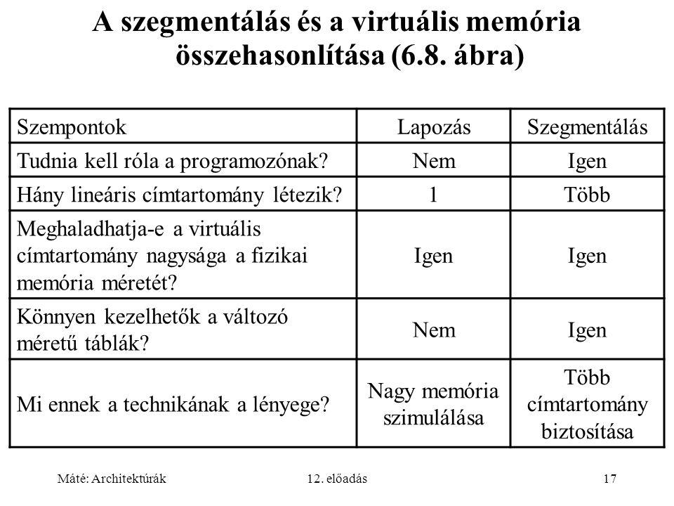 A szegmentálás és a virtuális memória összehasonlítása (6.8. ábra)