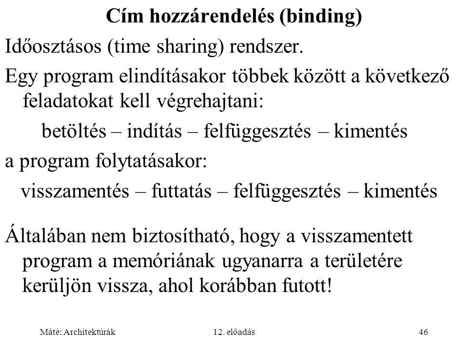 Cím hozzárendelés (binding)