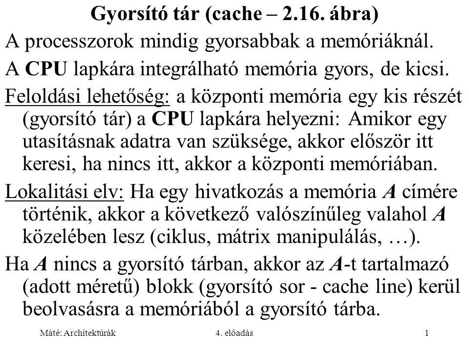 Gyorsító tár (cache – 2.16. ábra)