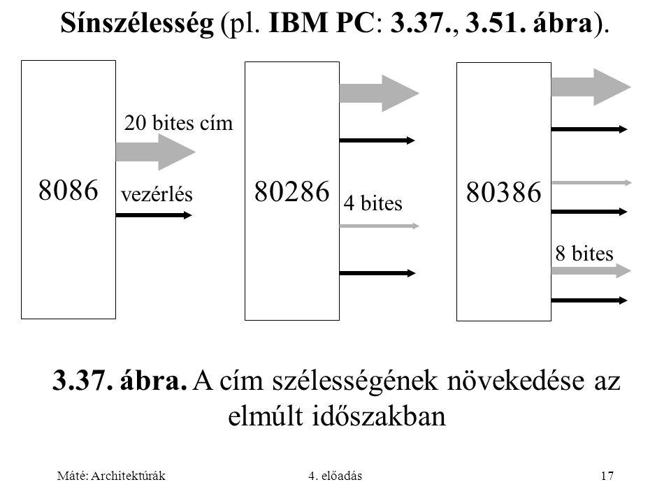 Sínszélesség (pl. IBM PC: 3.37., 3.51. ábra).