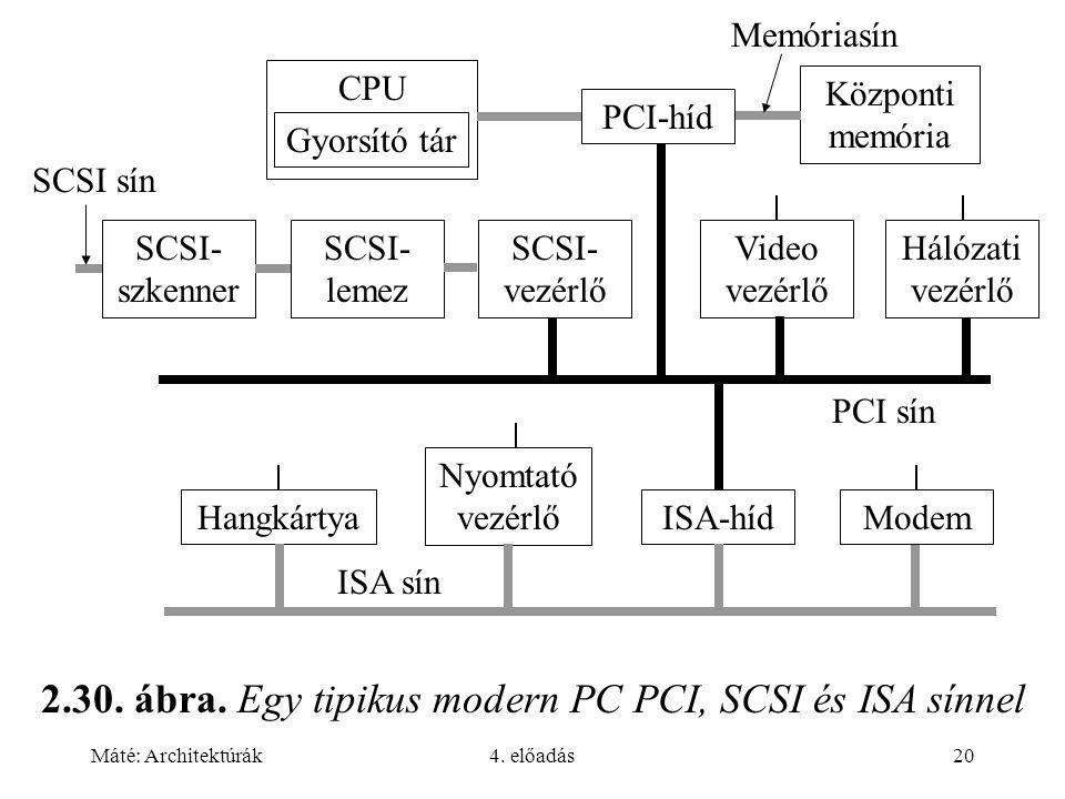 2.30. ábra. Egy tipikus modern PC PCI, SCSI és ISA sínnel
