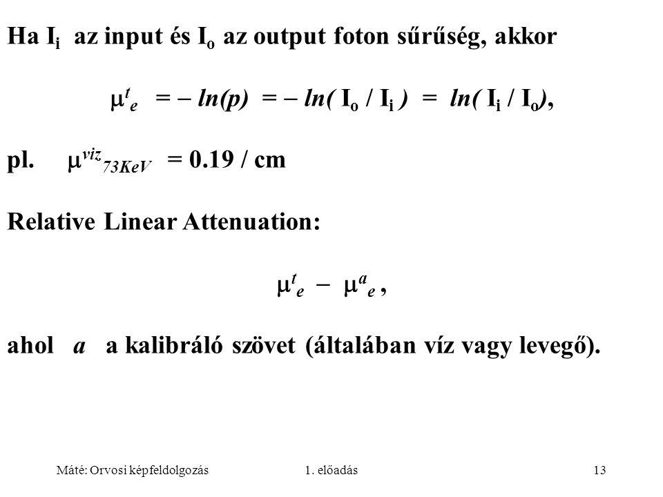 te =  ln(p) =  ln( Io / Ii ) = ln( Ii / Io),