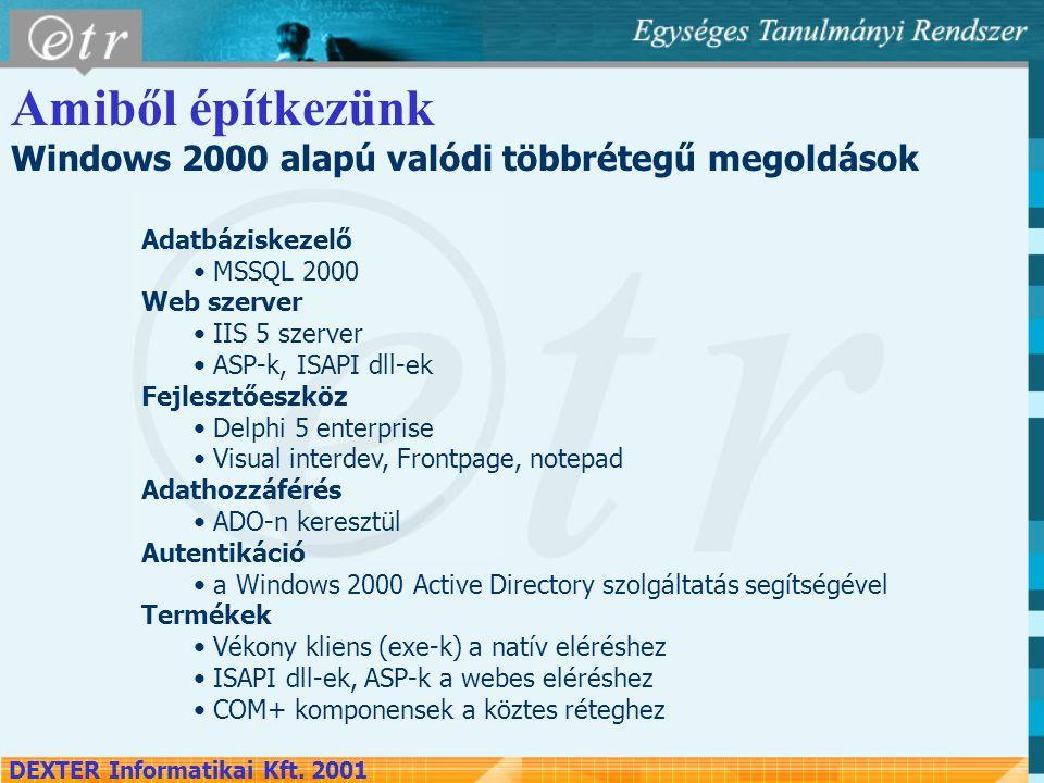 Amiből építkezünk Windows 2000 alapú valódi többrétegű megoldások