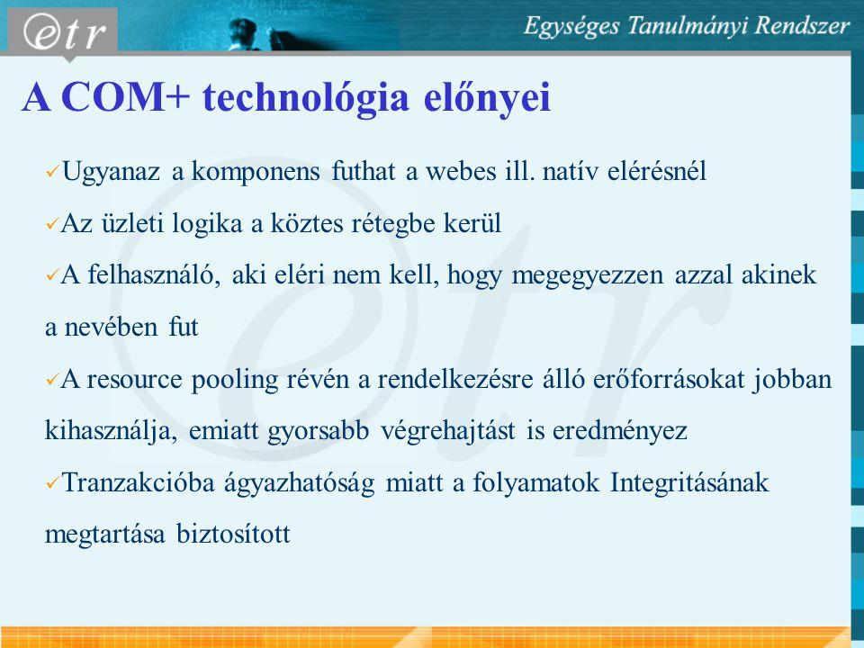A COM+ technológia előnyei