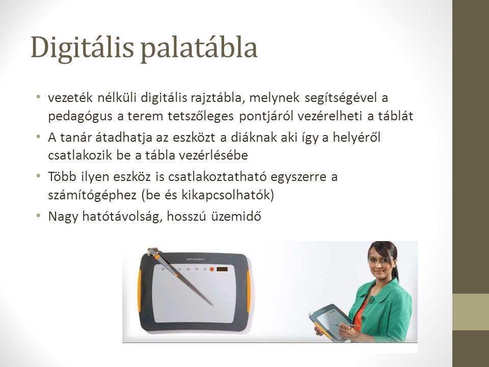 Digitális palatábla vezeték nélküli digitális rajztábla, melynek segítségével a pedagógus a terem tetszőleges pontjáról vezérelheti a táblát.