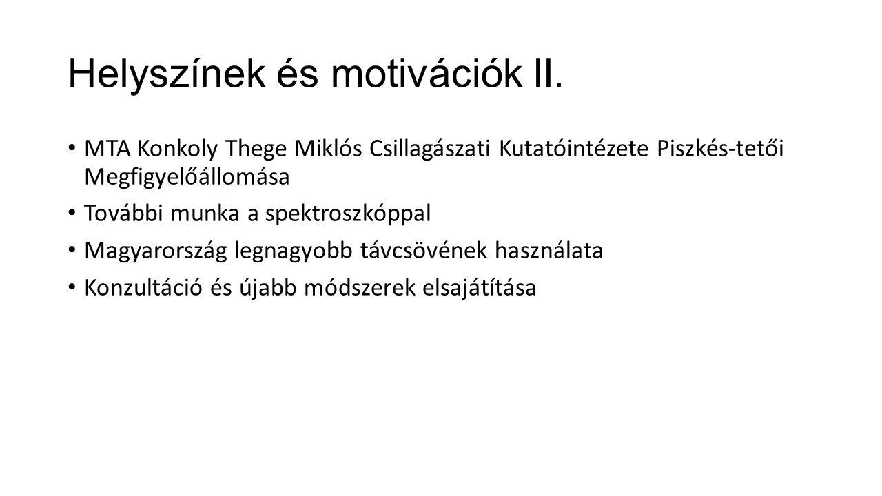Helyszínek és motivációk II.